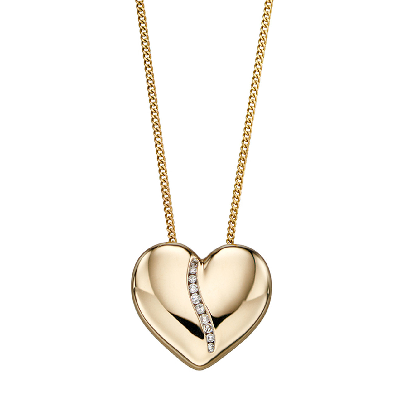 9ct Yellow Gold & Diamond heart channel Pendant on Chain