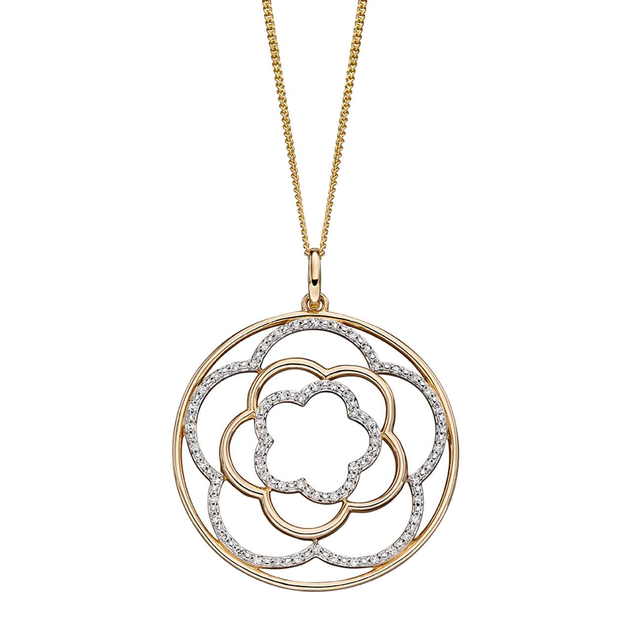 9ct Yellow Gold & Diamond Flower Pendant on Chain