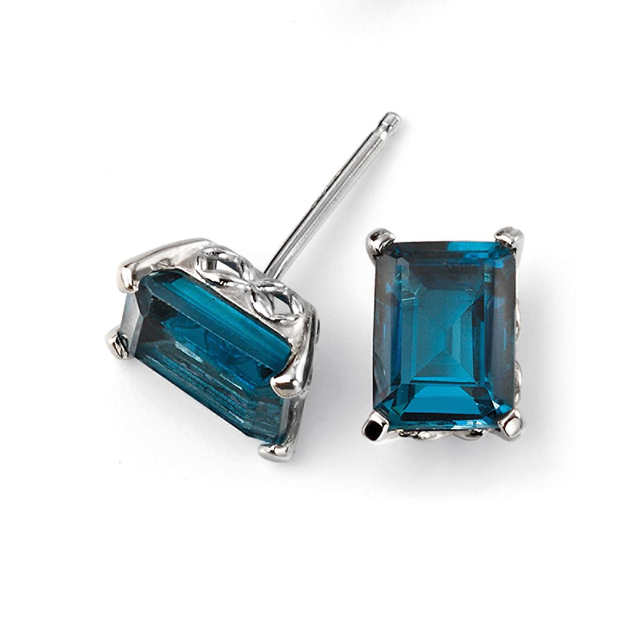9ct White Gold London Blue Topaz Stud Earrings