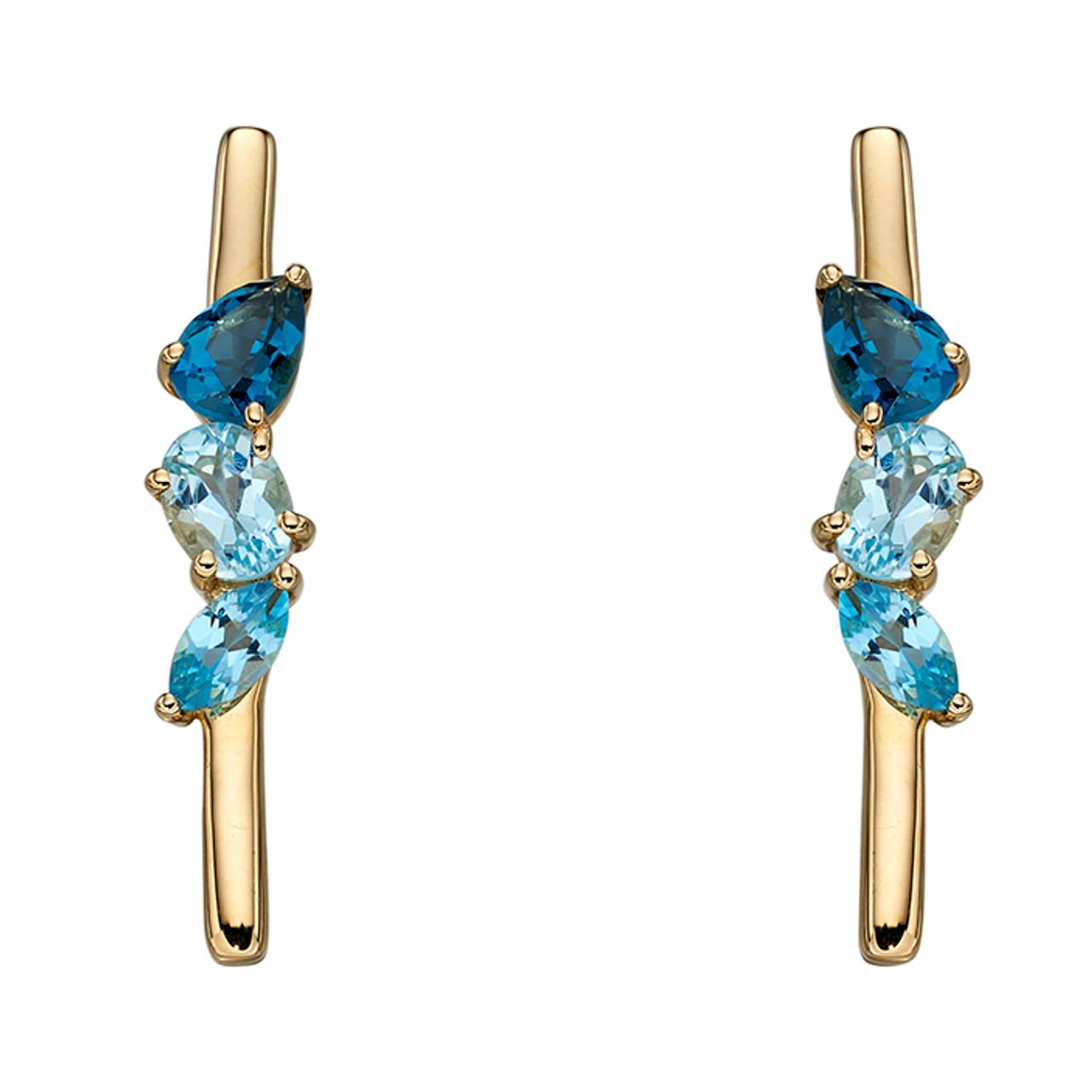 0d4daa73dff8d 9ct Yellow Gold Blue Topaz bar Drop Earrings