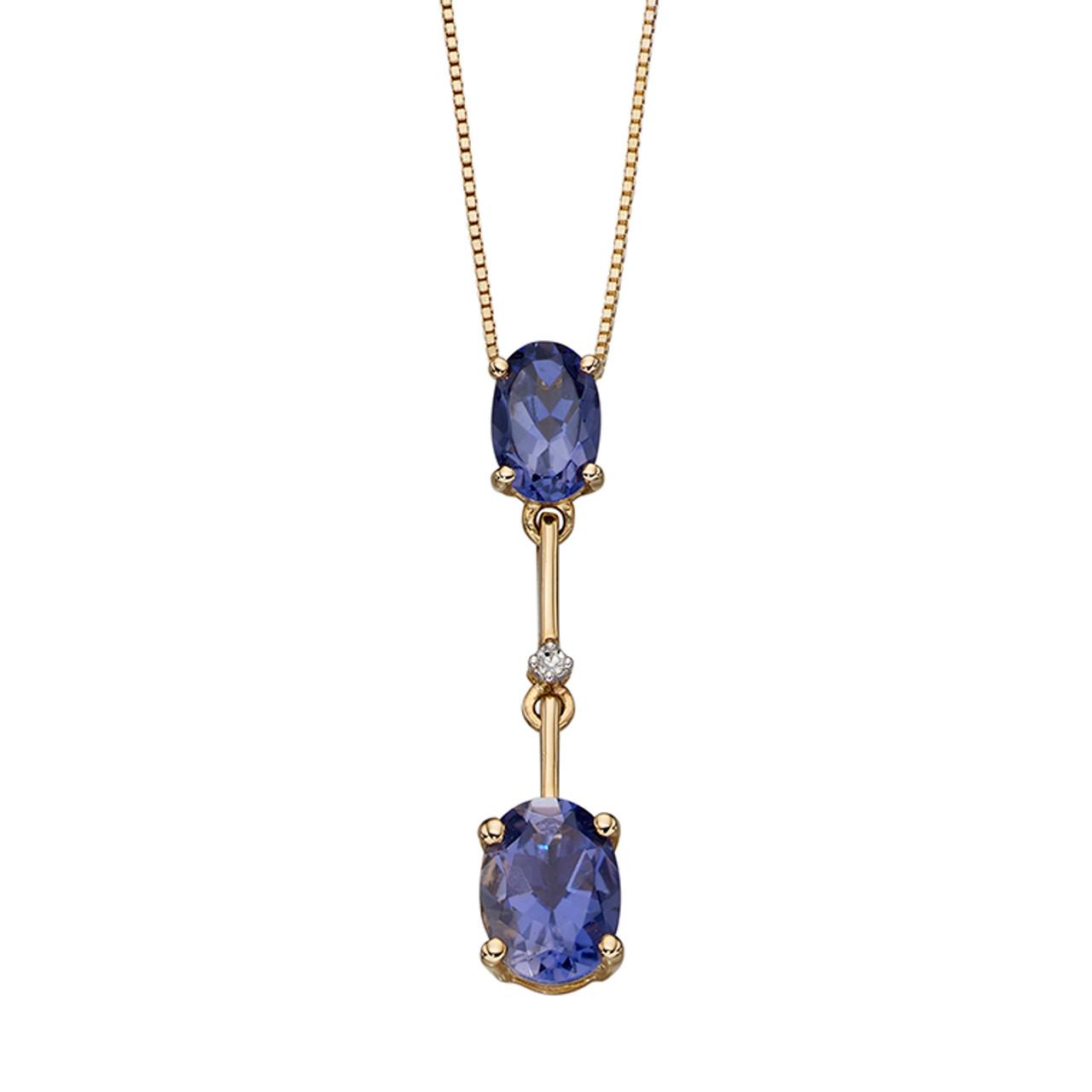 9ct Yellow Gold Iolite & Diamond Pendant on Chain