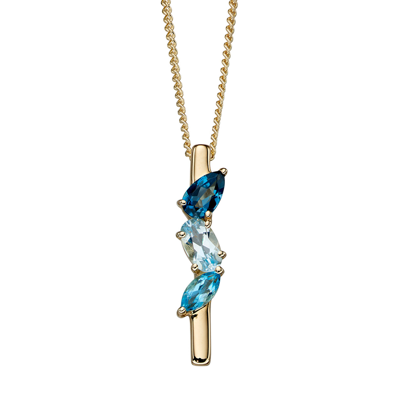 9ct Yellow Gold Blue Topaz bar Pendant on Chain