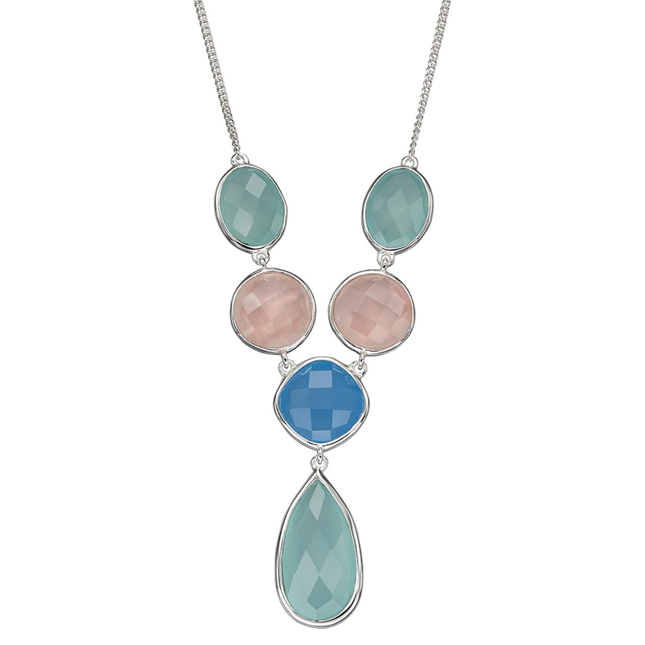 Silver Chalcedony & Rose Quartz Necklace