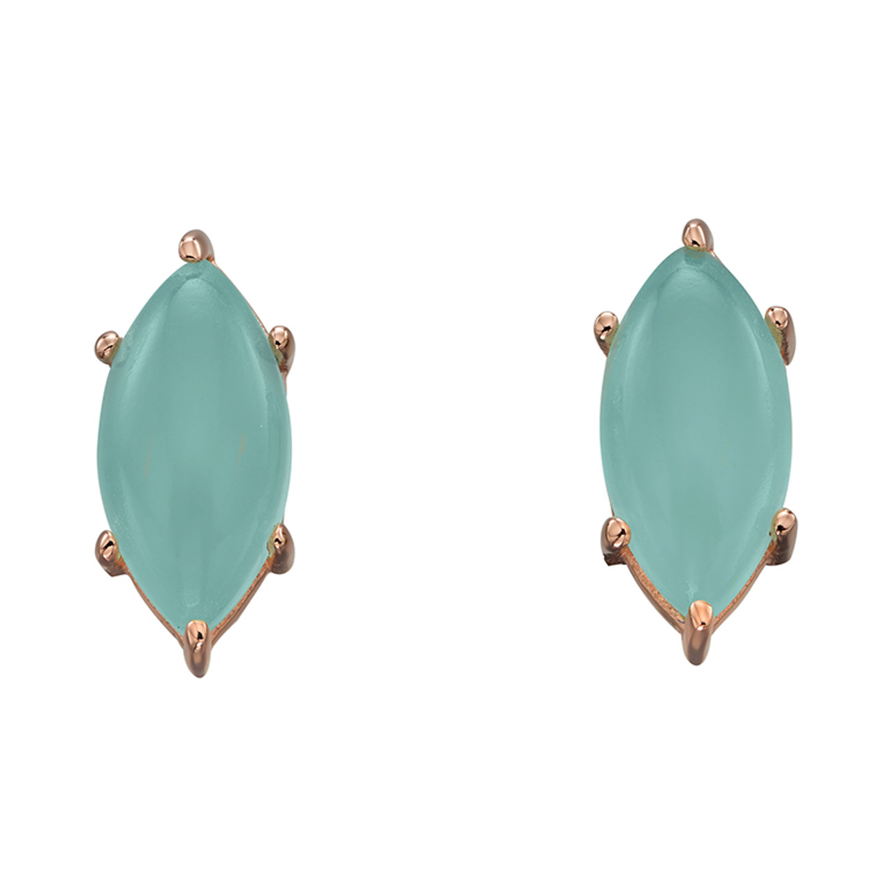 Silver & Rose Gold plated Chalcedony Stud Earrings
