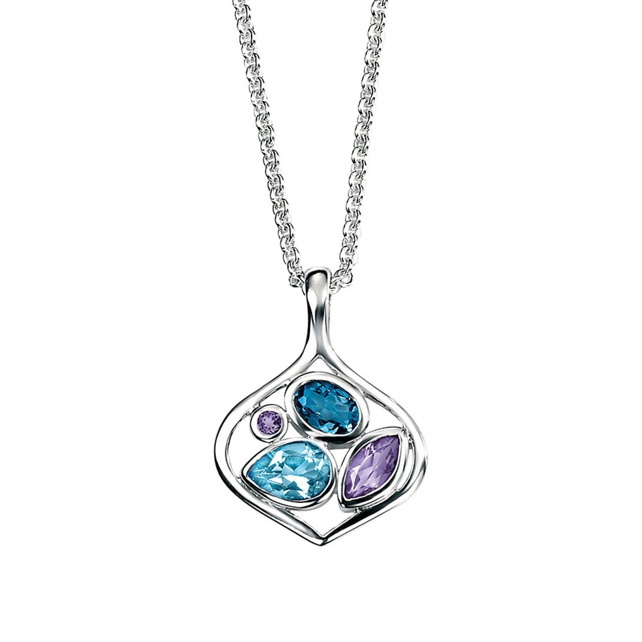 Silver Amethyst & Blue Topaz open Pendant on Chain