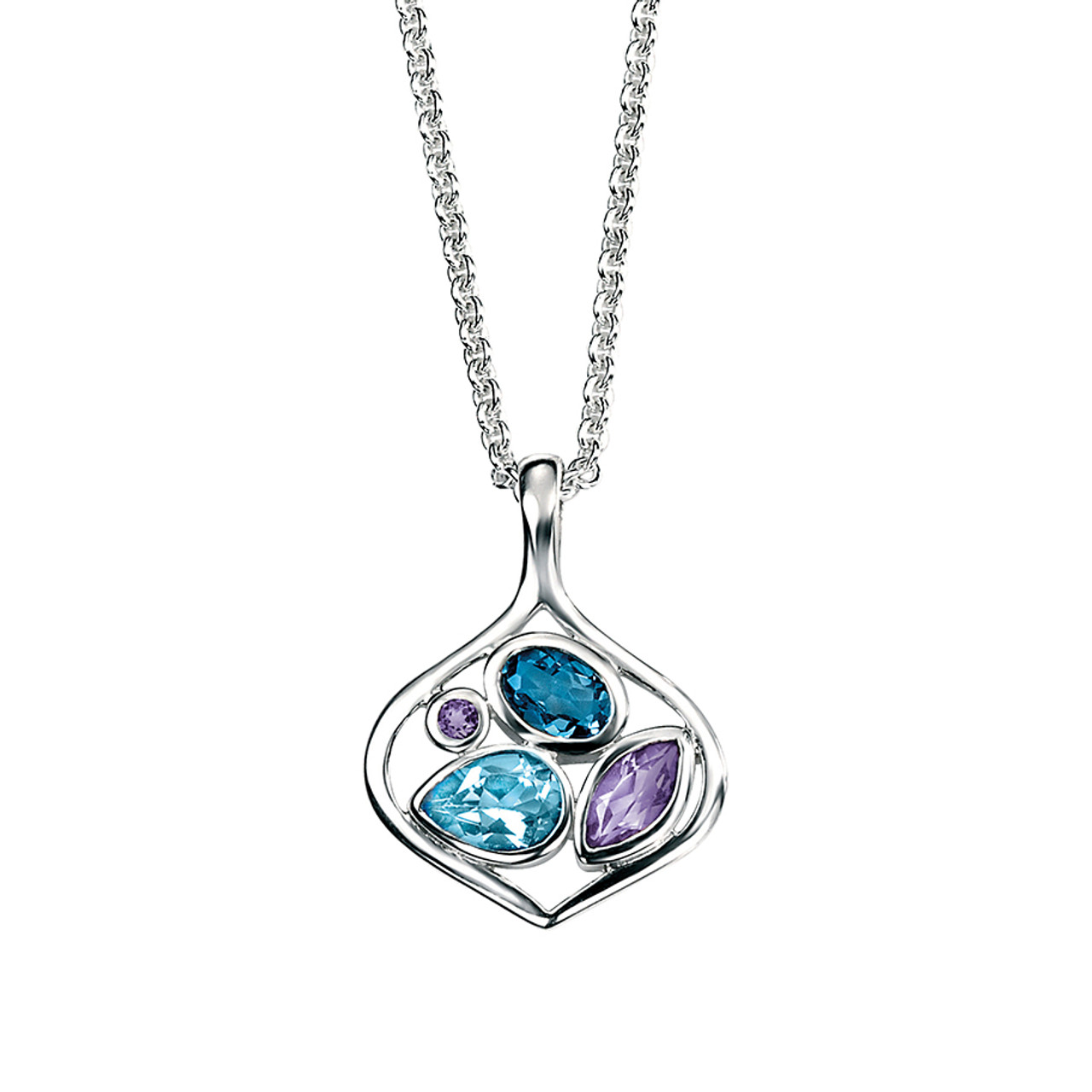 Silver Amethyst & Blue Topaz open Pendant on Chain