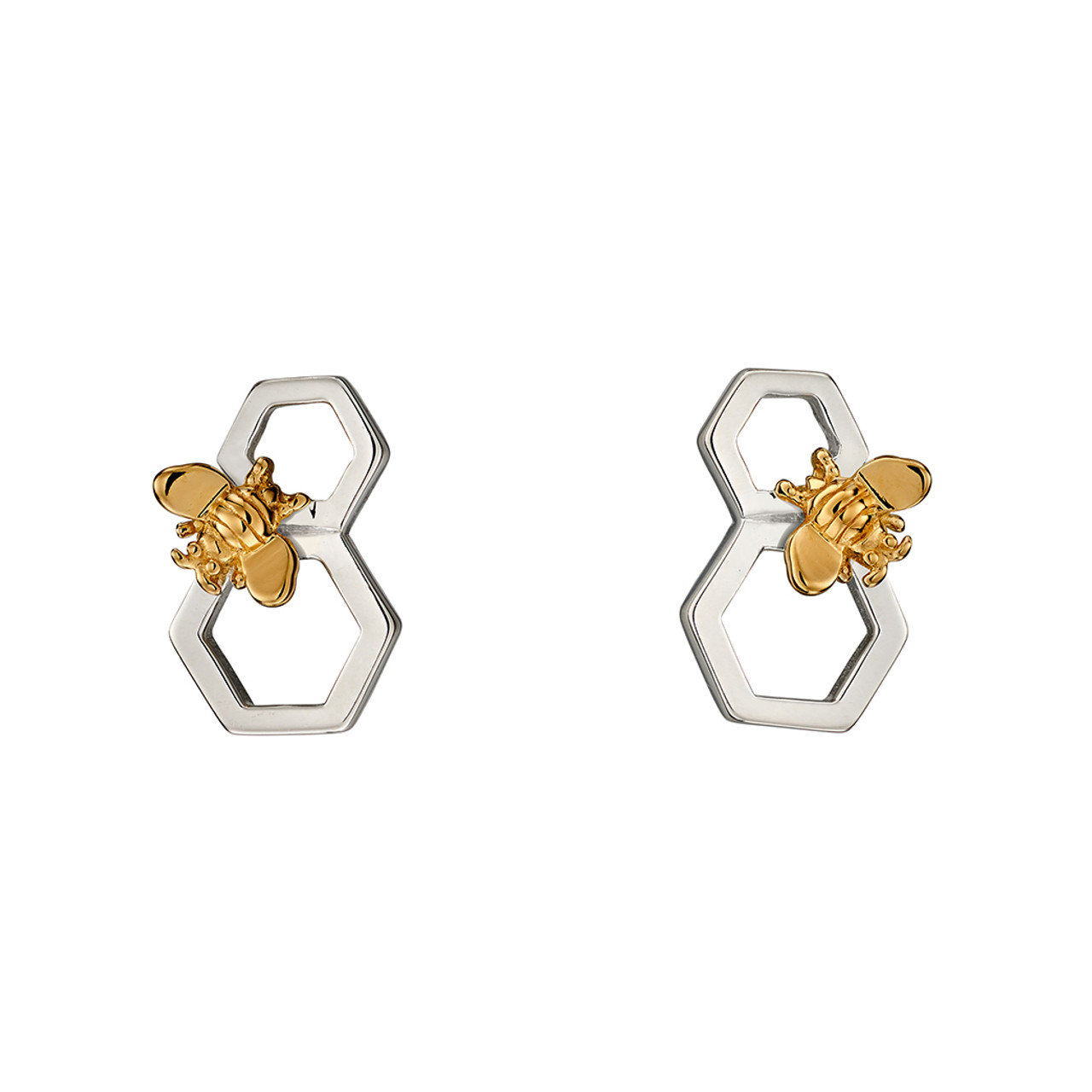 Silver & Gold Plated Bee Stud Earrings