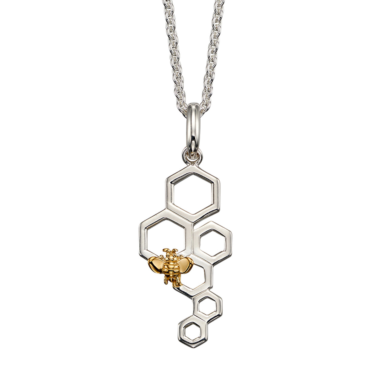 Silver & Gold Plated Bee Pendant on Chain