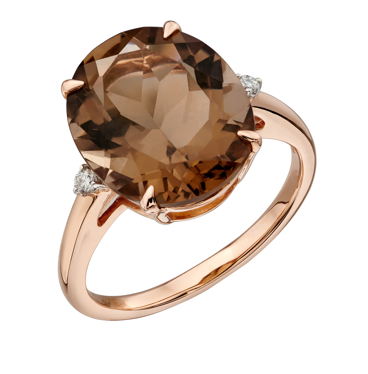 9ct Rose Gold Smoky Quartz & Diamond Ring