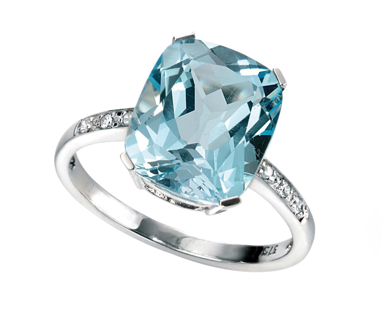 9ct White Gold Blue Topaz & Diamond Ring
