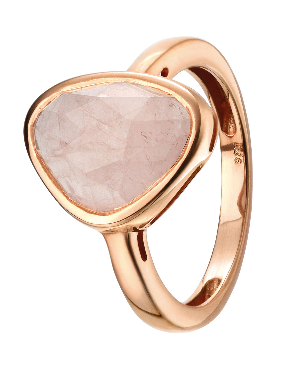 Silver & Rose Gold Plated Rose Quartz Ring