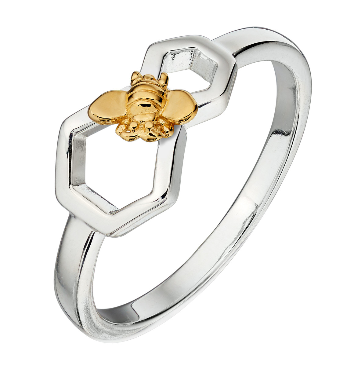 Silver & Gold Plated Bee Ring