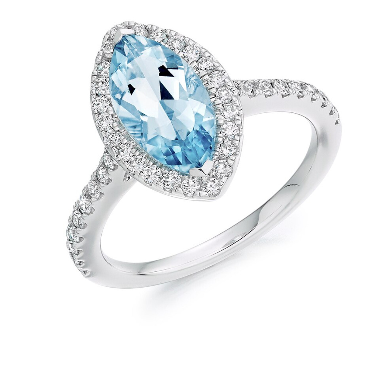 Platinum Aquamarine & Diamond Cluster Ring