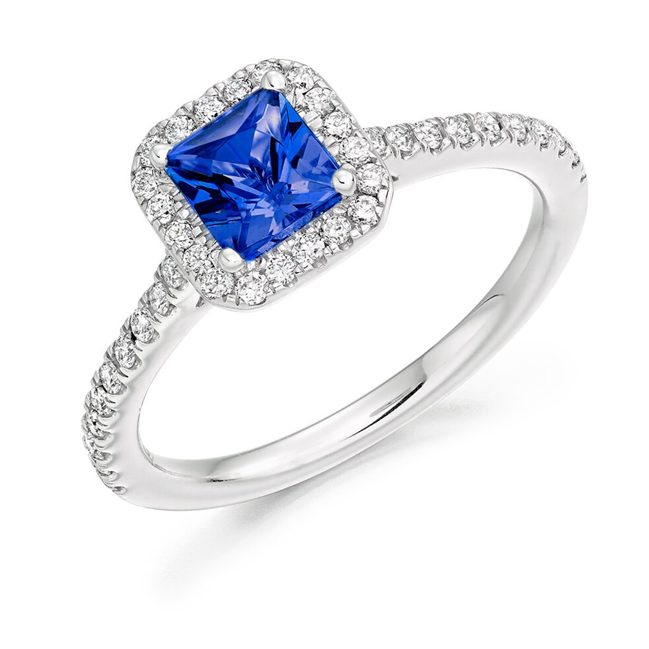 Platinum Tanzanite & Diamond Cluster Ring