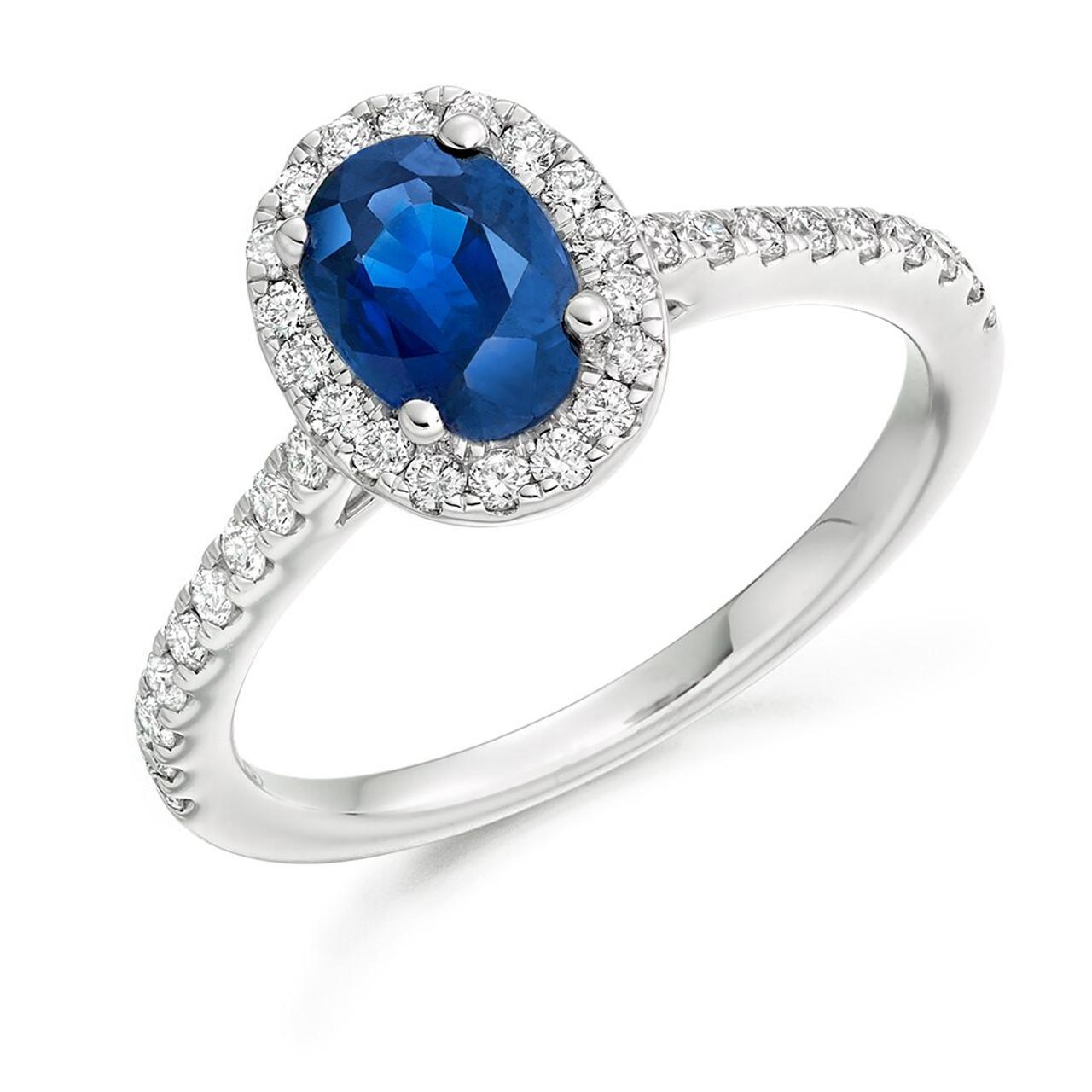 Platinum Oval Sapphire & Diamond Cluster Ring