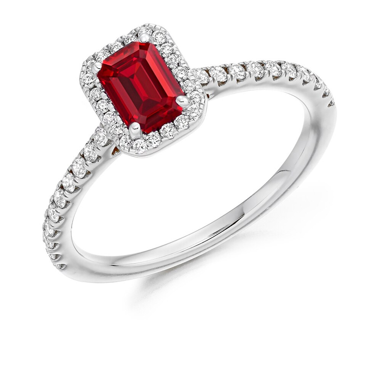 Platinum Ruby & Diamond Cluster Ring