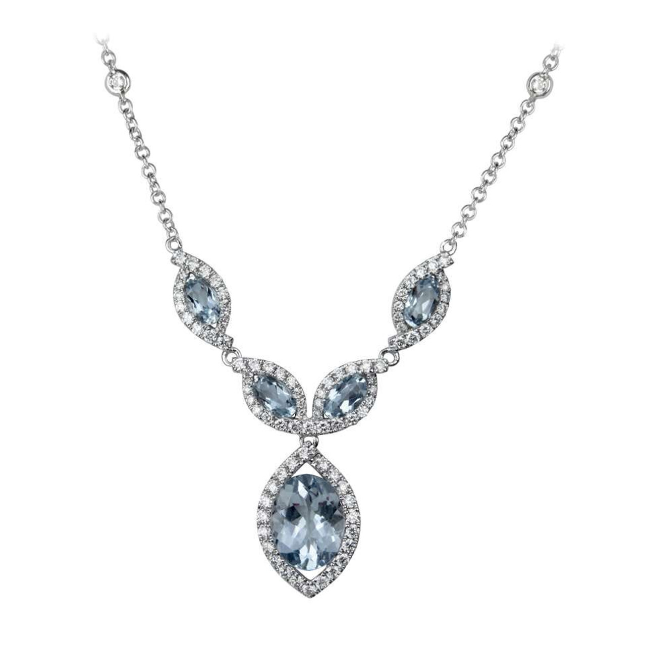 18ct White Gold Aquamarine & Diamond Necklace