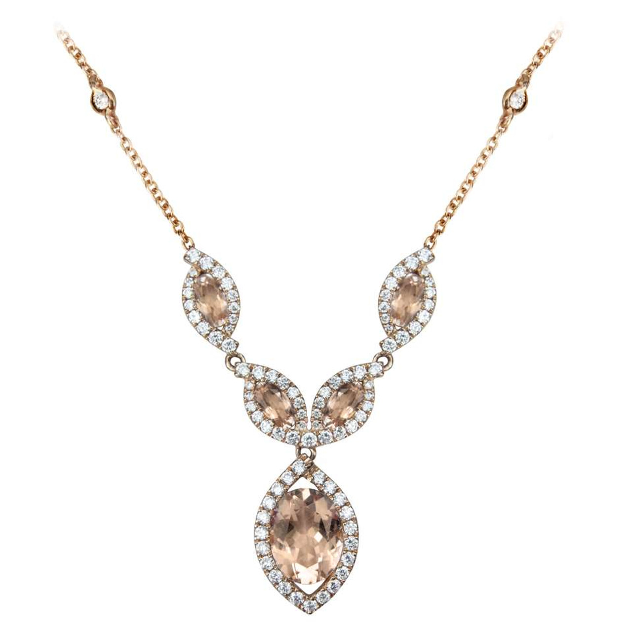 18ct Rose Gold Morganite & Diamond Necklace