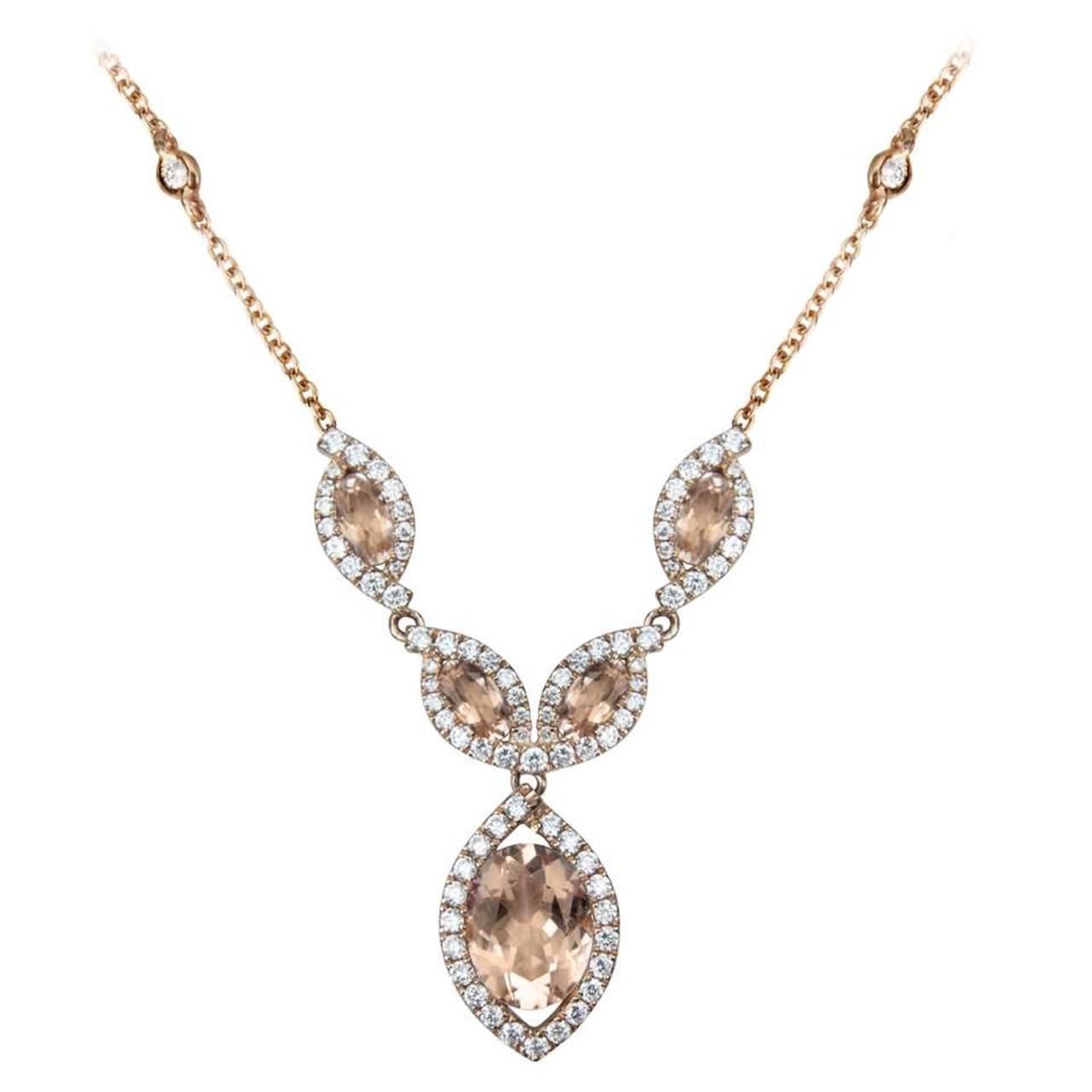 18ct Rose Gold Morganite & Diamond Necklace