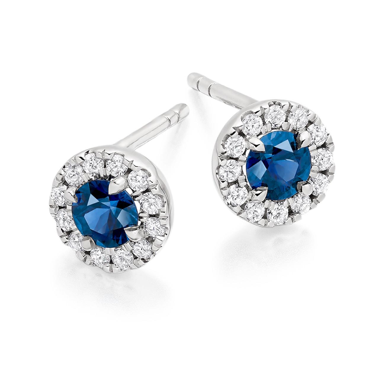 18ct White Gold Sapphire & Diamond Stud Earrings