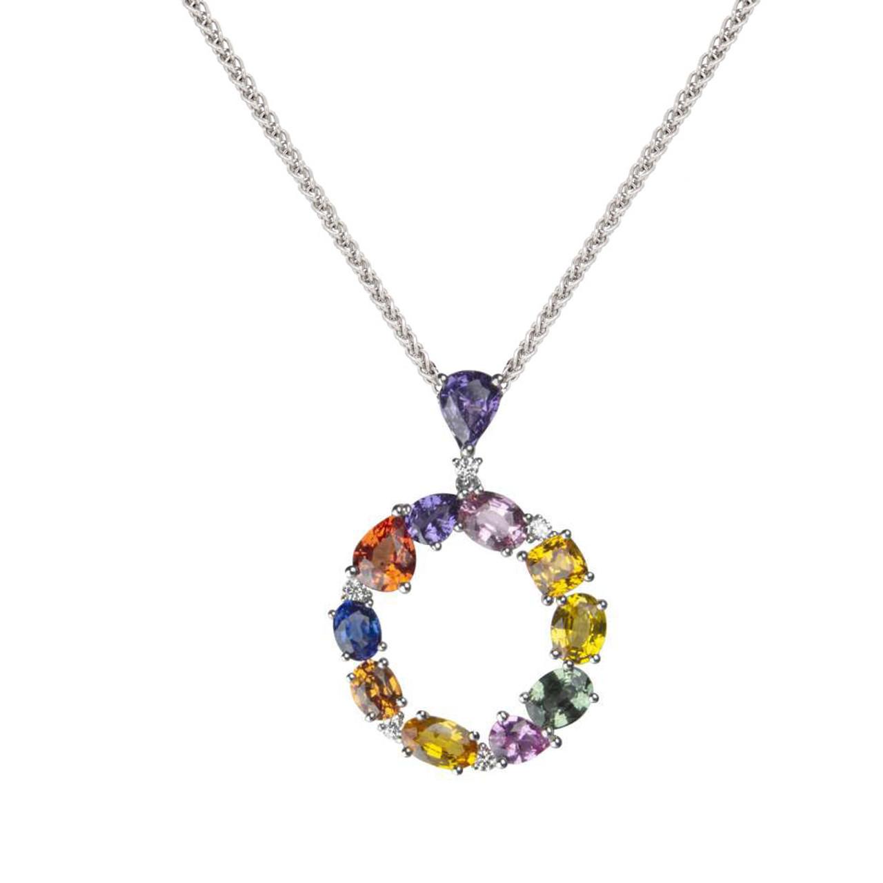 18ct White Gold multi-coloured Sapphire & Diamond circle Pendant on Chain