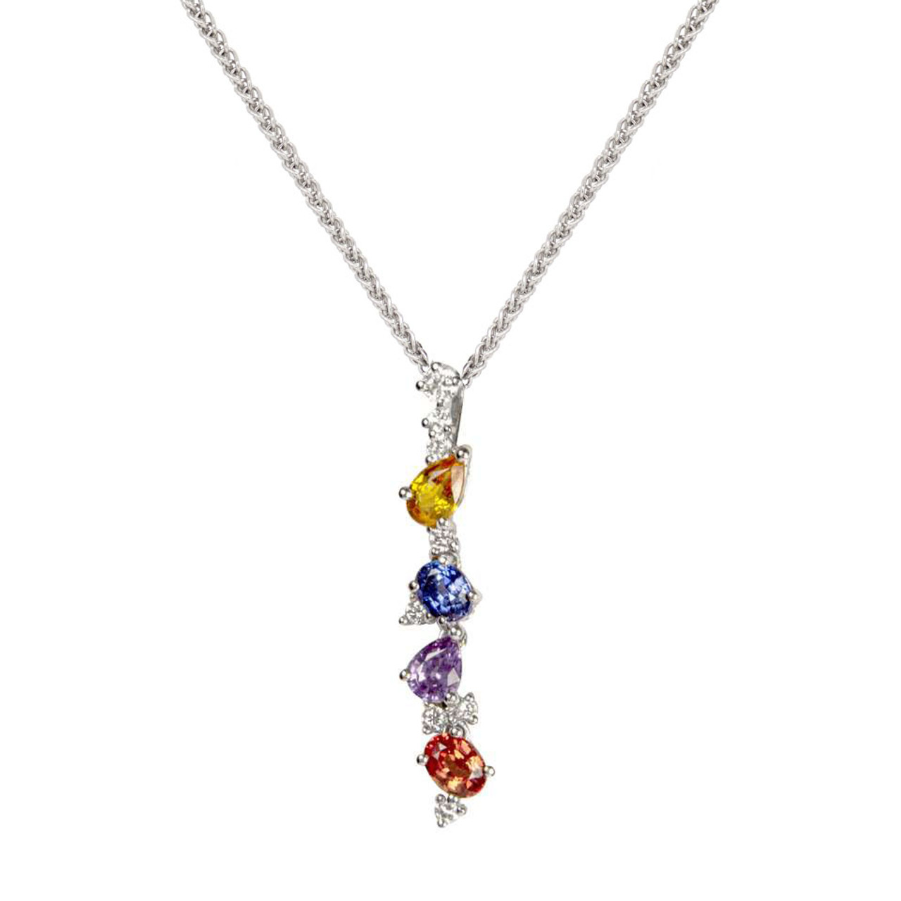 18ct White Gold multi-coloured Sapphire & Diamond Pendant on Chain