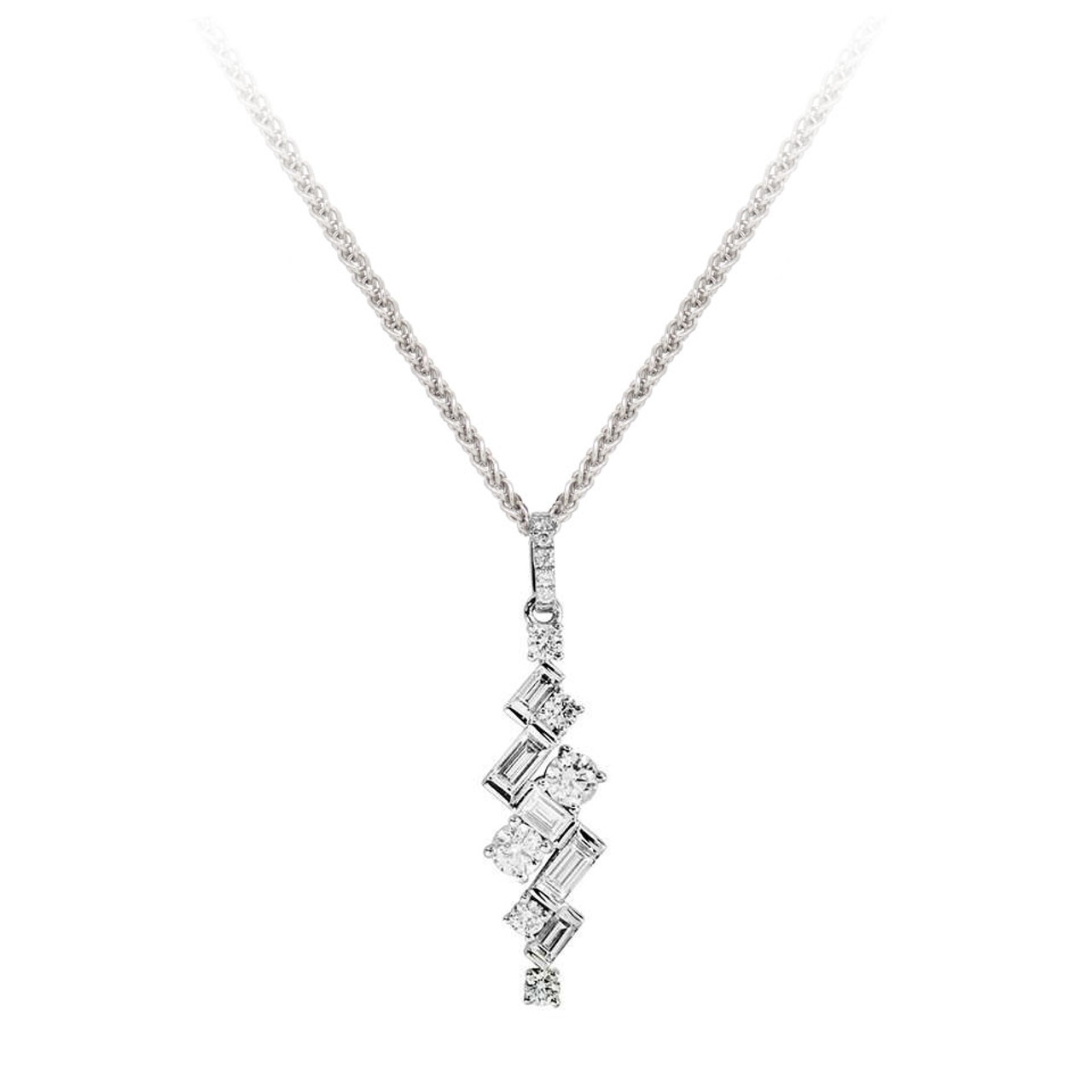 18ct White Gold Diamond Jazz Pendant on Chain