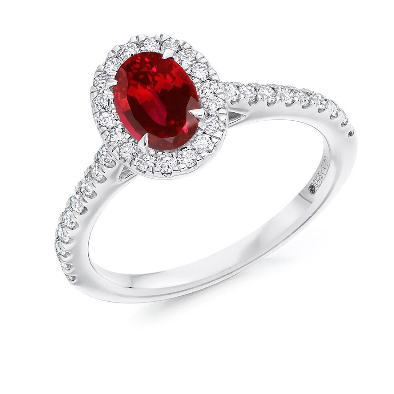 Platinum Ruby & Diamond oval Cluster Ring