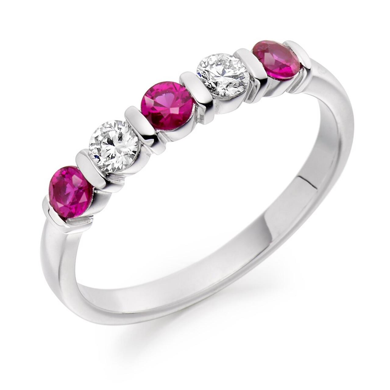 Platinum Pink Sapphire & Diamond 5 stone Ring