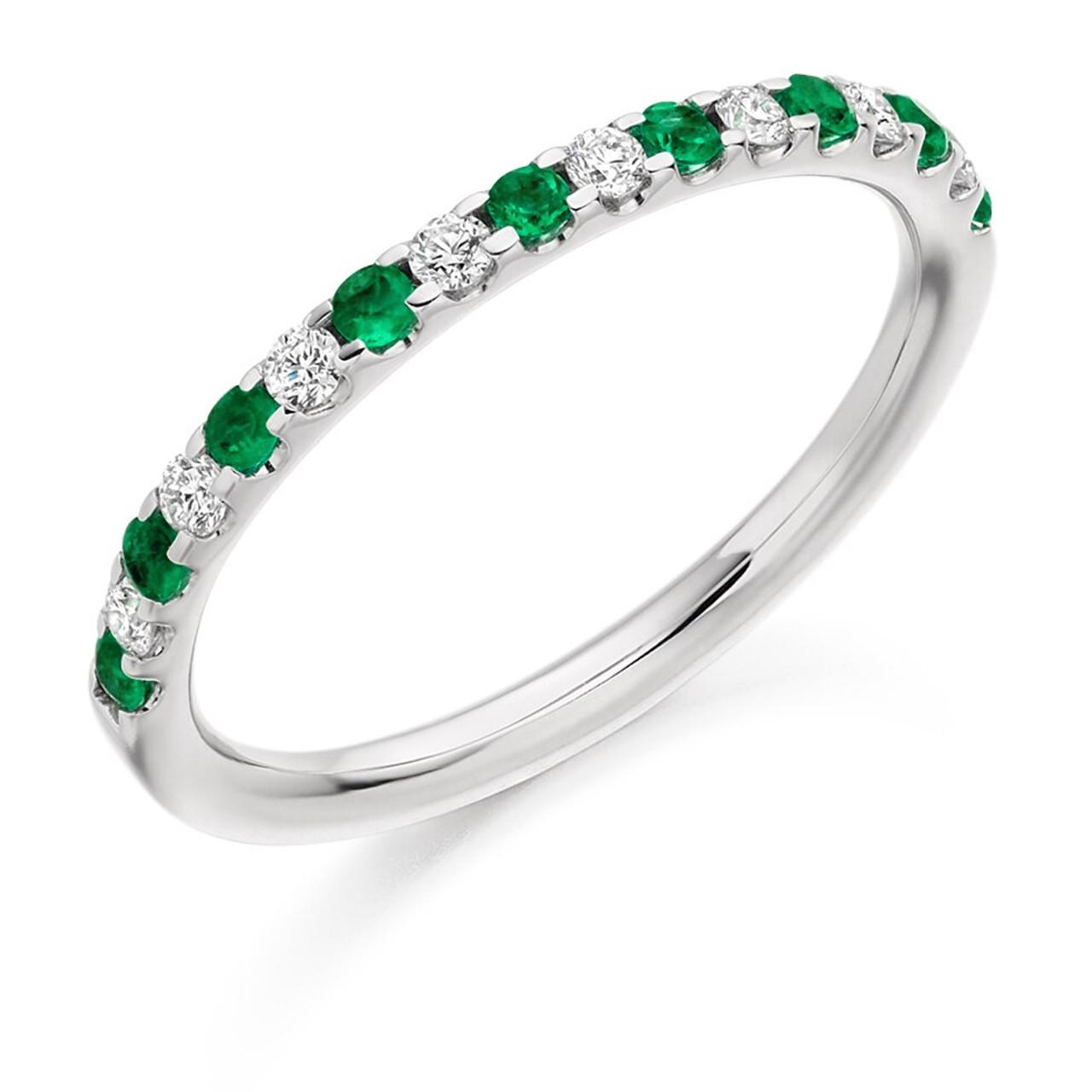 Platinum Emerald & Diamond Half Eternity Ring
