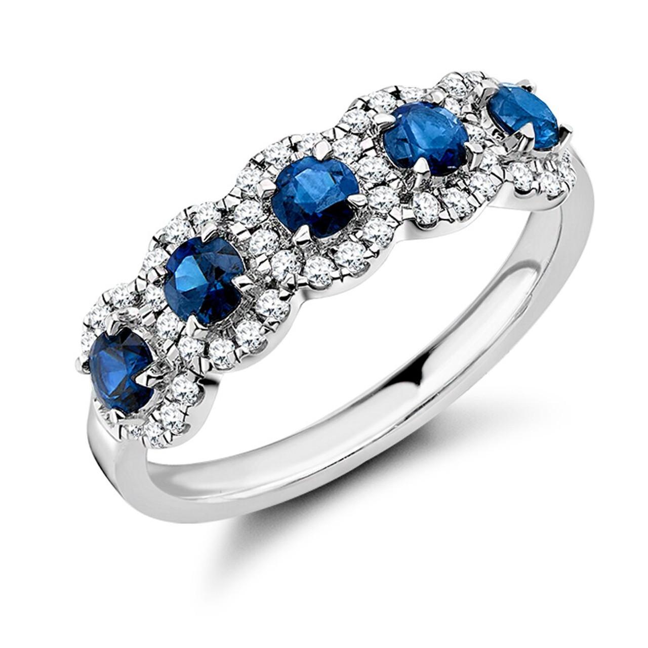 Platinum Sapphire & Diamond 5 stone Cluster Ring