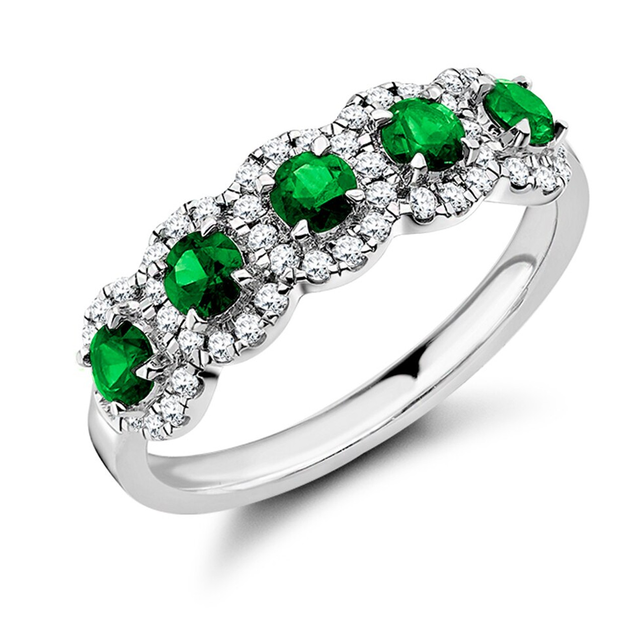 Platinum Emerald & Diamond 5 stone Cluster Ring