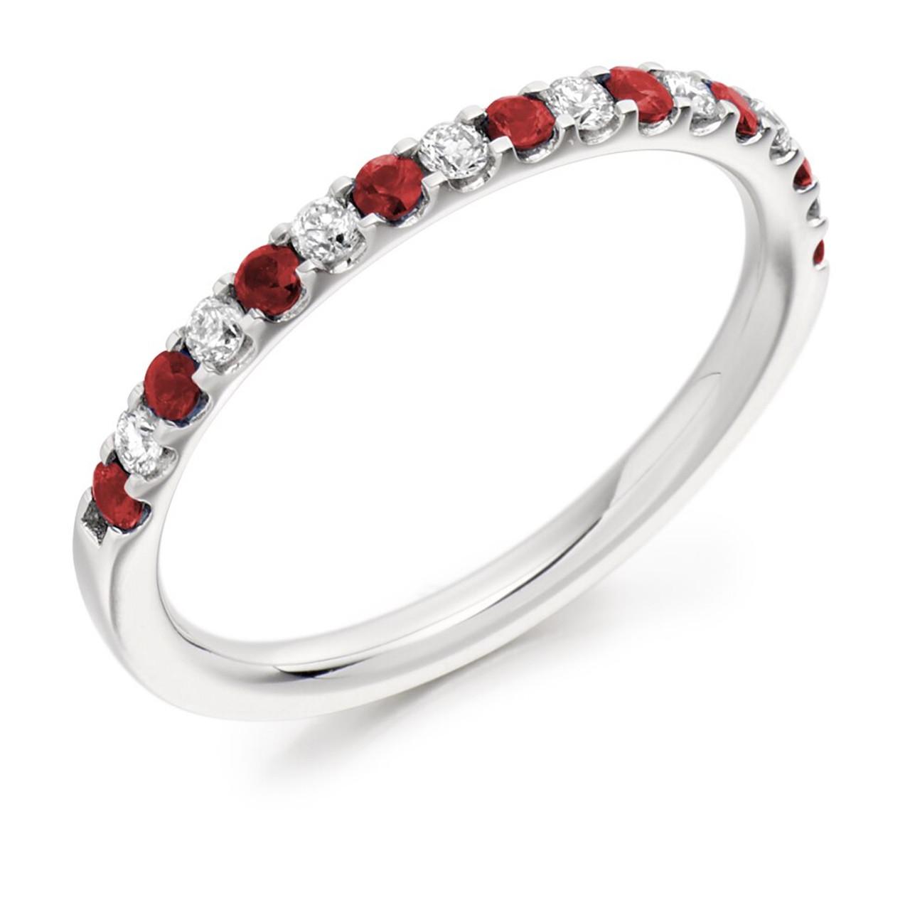 Platinum Ruby & Diamond Half Eternity Ring