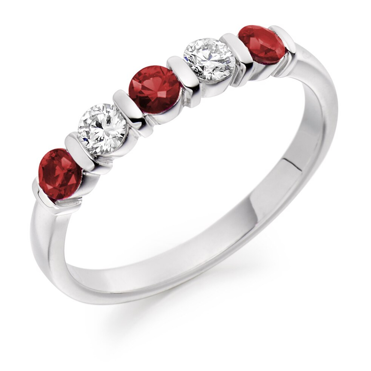 Platinum Ruby & Diamond 5 stone Ring