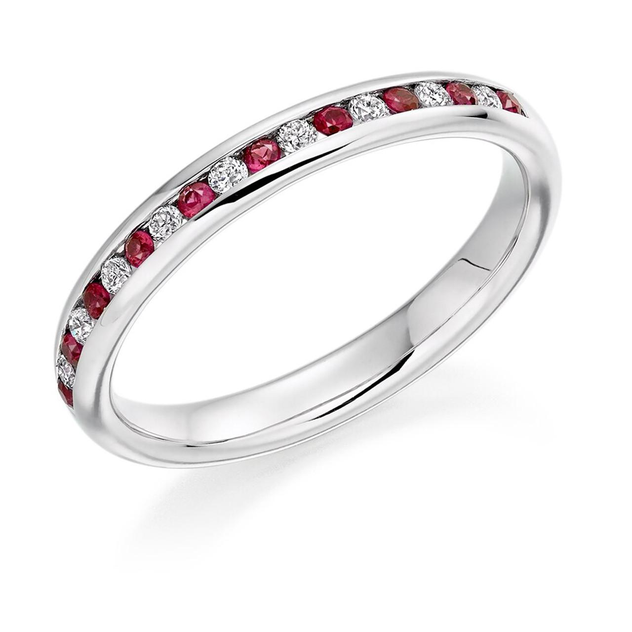 Platinum Ruby & Diamond Channel set Half Eternity Ring