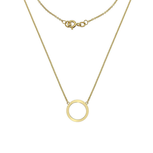 Gold Circle Pendant Necklace With Hammered Petals