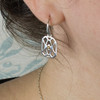 Marquis Pierced Sterling Silver Earrings