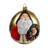 Vaillancourt Jingle Ball Ornament: Hospitality Santa with Wreath