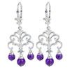 Amethyst Sterling Silver Leverback Earrings