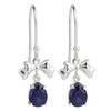 Sapphire Drop Bow Brass Earrings