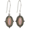 Marcasite Pink Mother of Pearl and Brass Earrings