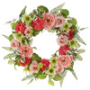 Mixed Floral Pink and Red Wreath
