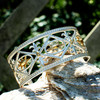 Wide Fender Gold Plated and Sterling Silver Cuff Bracelet