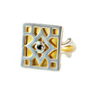 Lattice Spinel Gold Plate and Sterling Silver Ring - front view