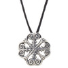 Abby Quatrefoil Pendant on Black Cord