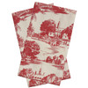 Red Townscape Toile Towel Set
