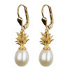 Pineapple and Cream Pearl Sterling Silver and Gold Plated Earrings