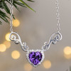 Abby Heart and Amethyst Scroll Necklace