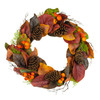 Magnolia Leaf and Pine Cone Wreath