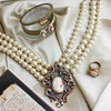 Cameo and Pearl Multi-Strand Necklace